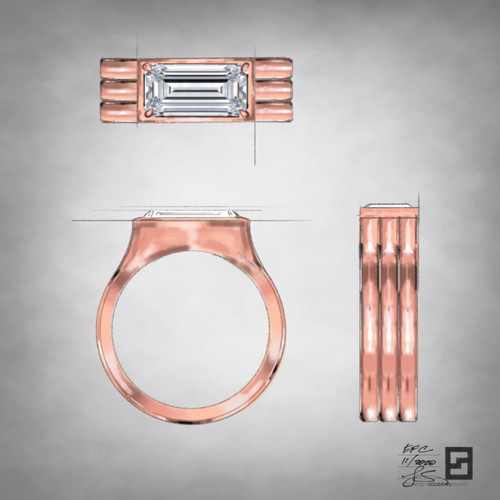 oath elongated emerald cut engagement ring in rose gold