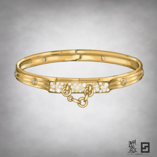 oath bangle with pave and bezel set diamonds