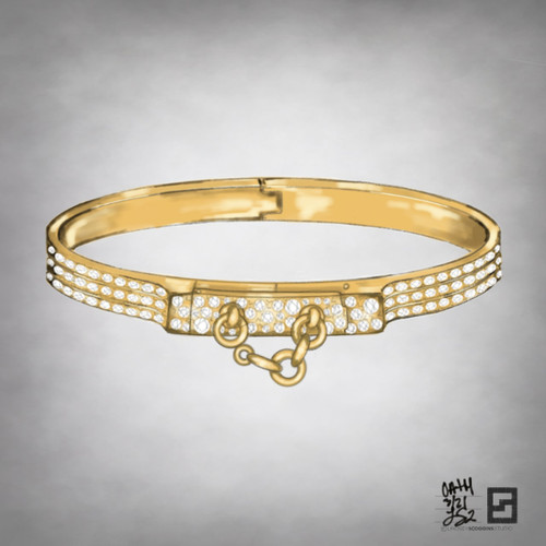 oath cuff bangle with full pave diamonds in 18 karat gold
