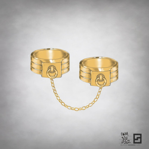 double oath ring set in yellow gold with chain detail