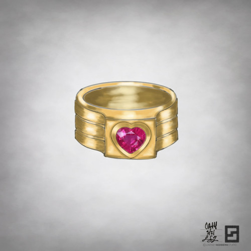 oath pinky ring with bezel set heart shaped ruby