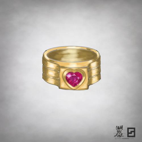 oath pinky ring with bezel set heart shaped ruby