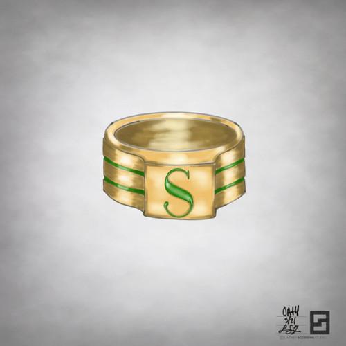 engraved enamel oath signet ring in gold