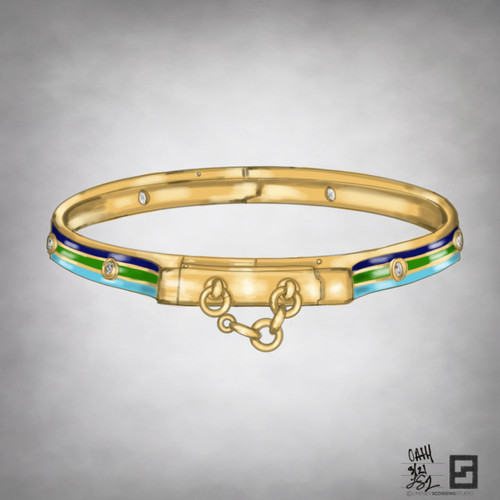 oath bangle with enamel and bezel set diamonds