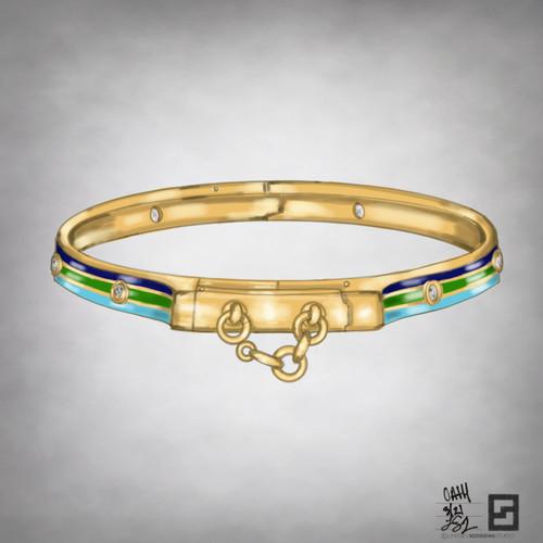 oath bangle with enamel and bezel set diamonds