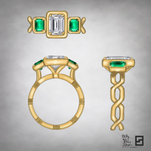 three stone emerald cut diamond with emerald accents on an open chance engagement ring band