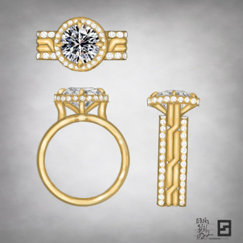 4 row twisting pave engagement ring