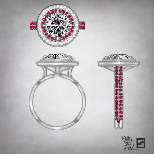 two row double halo engagement ring with diamonds and rubies