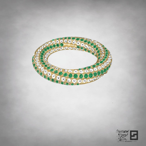 twisting eternity band with pave diamonds and green emeralds