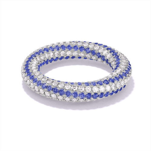 diamond and sapphire twisting eternity band
