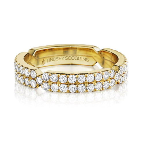 chance two row pave diamond band in yellow gold