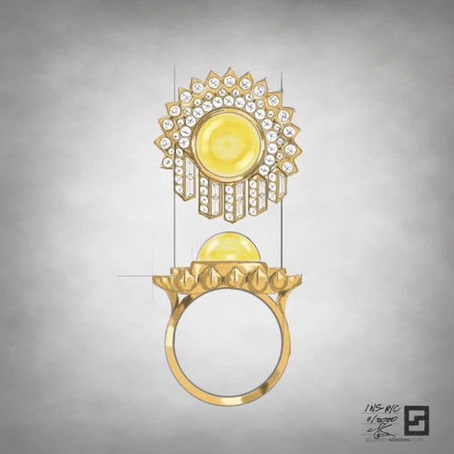 Cabochon yellow sapphire cocktail ring with round diamonds and baguette diamonds in 18 karat yellow gold
