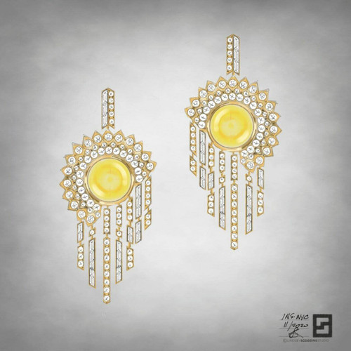 Yellow sapphire cabochon chandelier earrings with pave set diamonds set in 18k yellow gold