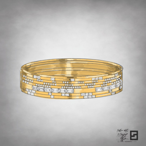 Emerald cut, baguette, and round diamond hinged bangle in 18 karat yellow gold