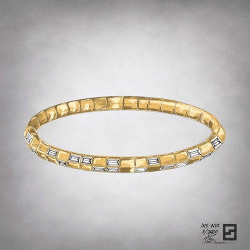 knife edge tennis bracelet with baguette diamonds in 18 karat yellow gold