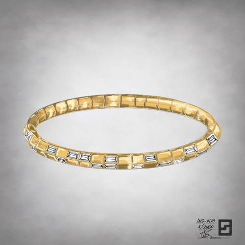 knife edge tennis bracelet with baguette diamonds in 18 karat yellow gold