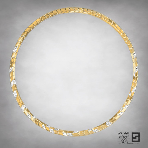 knife edge tennis necklace with baguette diamonds in 18 karat yellow gold