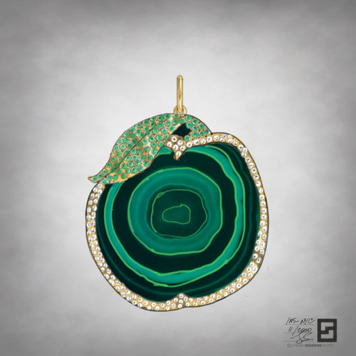 raw malachite apple slice pendant with pave diamonds and emeralds in an 18 karat yellow gold frame