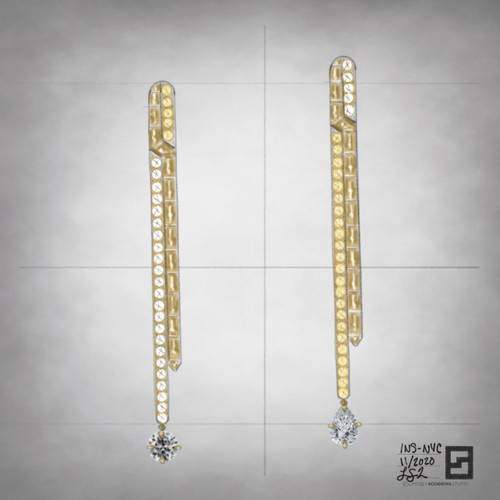yellow gold and diamond crisscross drop earrings with diamond solitaires in 18 karat gold