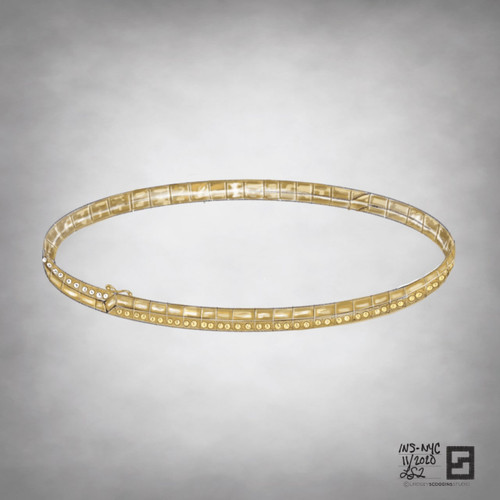 gold and diamond modern tennis bracelet