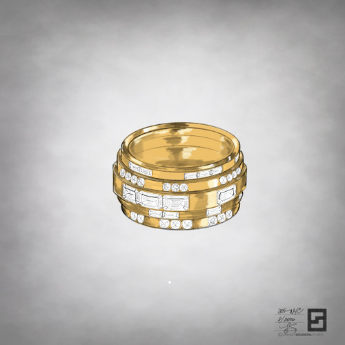 tiered eternity band with emerald cut diamonds and baguette diamonds in 18 karat yellow gold