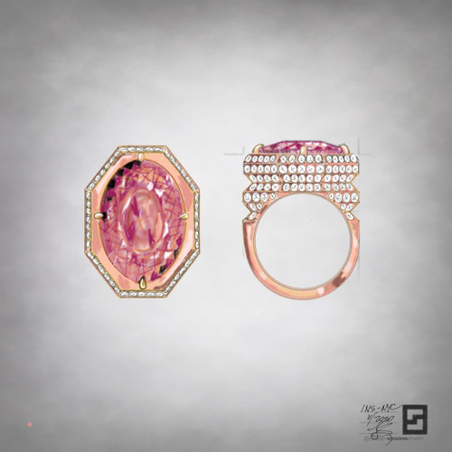 Oval shaped peach tourmaline ring with architectural diamond pattern in 18k rose gold