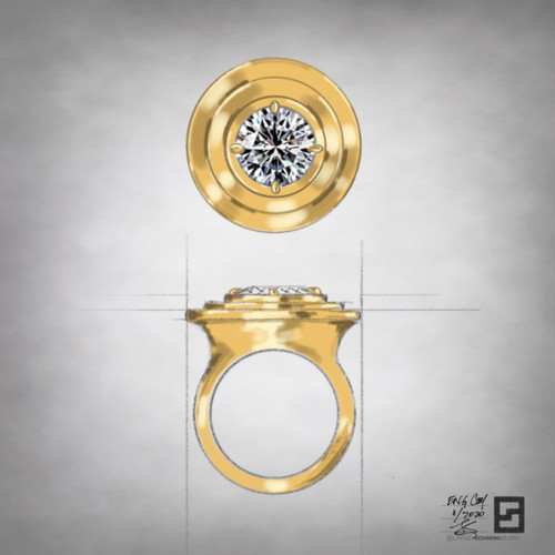 ripple effect engagement ring with round diamond in 18 karat yellow gold