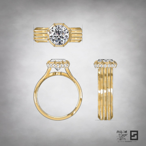wide engagement ring with grooved lines and a victorian setting with a round diamond in 18 karat yellow gold