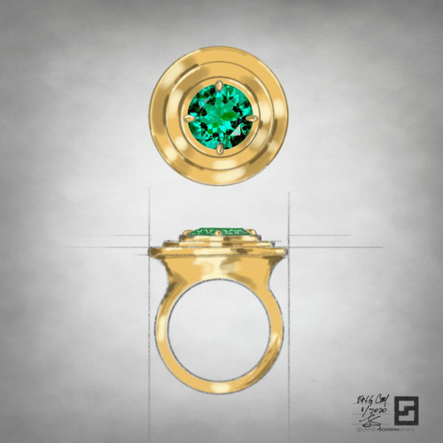 ripple effect engagement ring with round emerald in 18 karat yellow gold