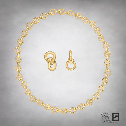 twisted infinity ball and chain link necklace in 18 karat gold