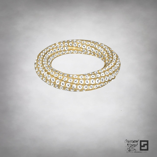 inside out eternity band with 2 rows of entwined pave diamonds in 18 karat gold or platinum