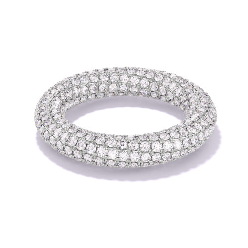 twisted diamond eternity band with 2 rows of entwined pave diamonds in platinum