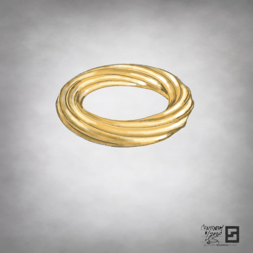 inside out eternity twisting octagon band in high polished 18 karat gold