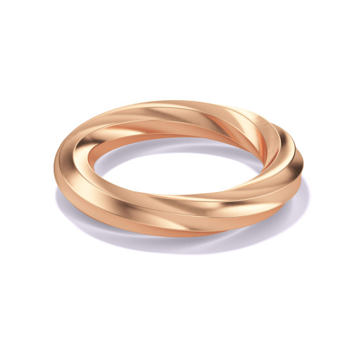 uniquely engineered twisted eternity band in high polished 18 karat rose gold