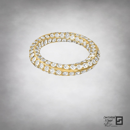 inside out eternity band with 1 row of entwined pave diamonds in 18 karat gold or platinum
