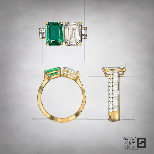two stone engagement ring with emerald and diamond in 18 karat gold
