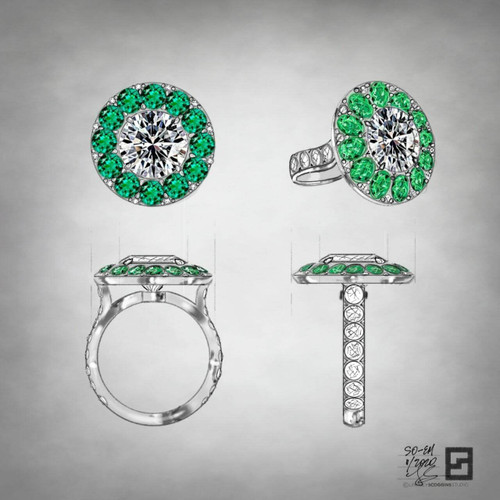 diamond engagement ring with emerald and diamond halo in platinum