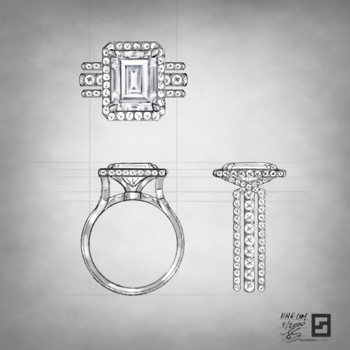emerald cut three row bridge engagement ring with halo