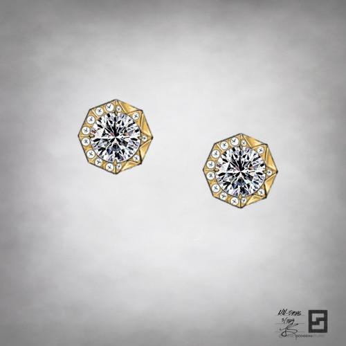 New York City sunrise inspired diamond solitaire earrings in 18 karat gold