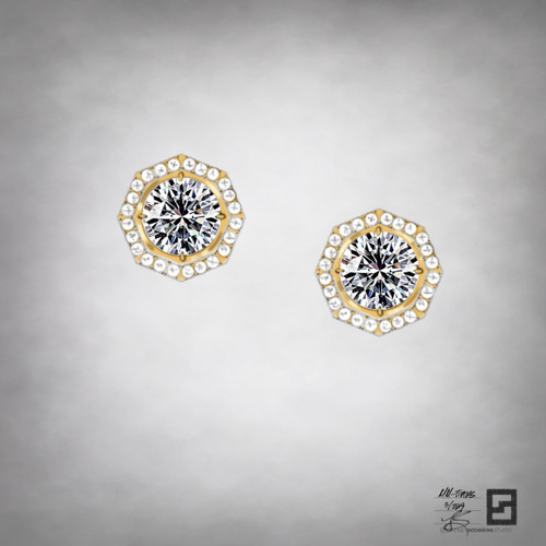New York City industry inspired diamond solitaire earrings in 18 karat gold