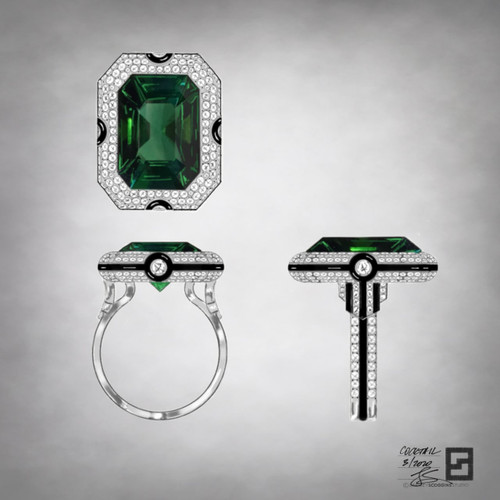 Art Deco ring with an emerald cut green tourmaline set in platinum with pave diamonds and black enamel