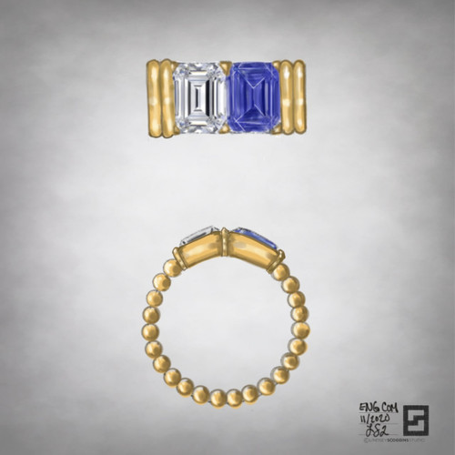 emerald cut sapphire and diamond two stone ring with corrugated band in 18 karat gold