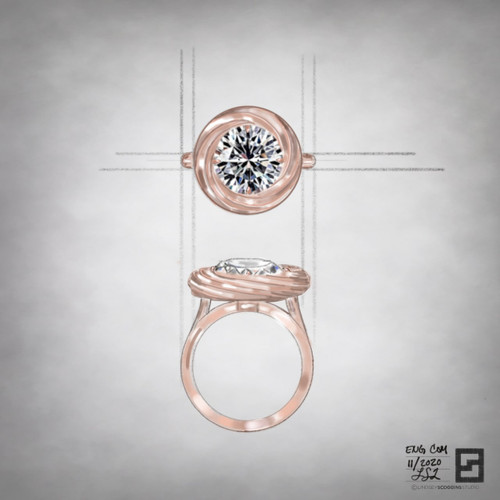 rose gold engagement ring with continuum halo and round diamond center stone