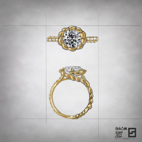 engagement ring with laurel wreath halo and round diamond center stone in 18 karat gold