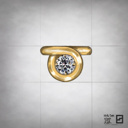 engagement ring with infinity halo and round diamond center stone in 18 karat gold