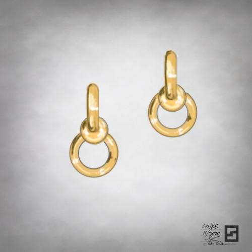 twisted infinity ball and chain link earrings in 18 karat gold
