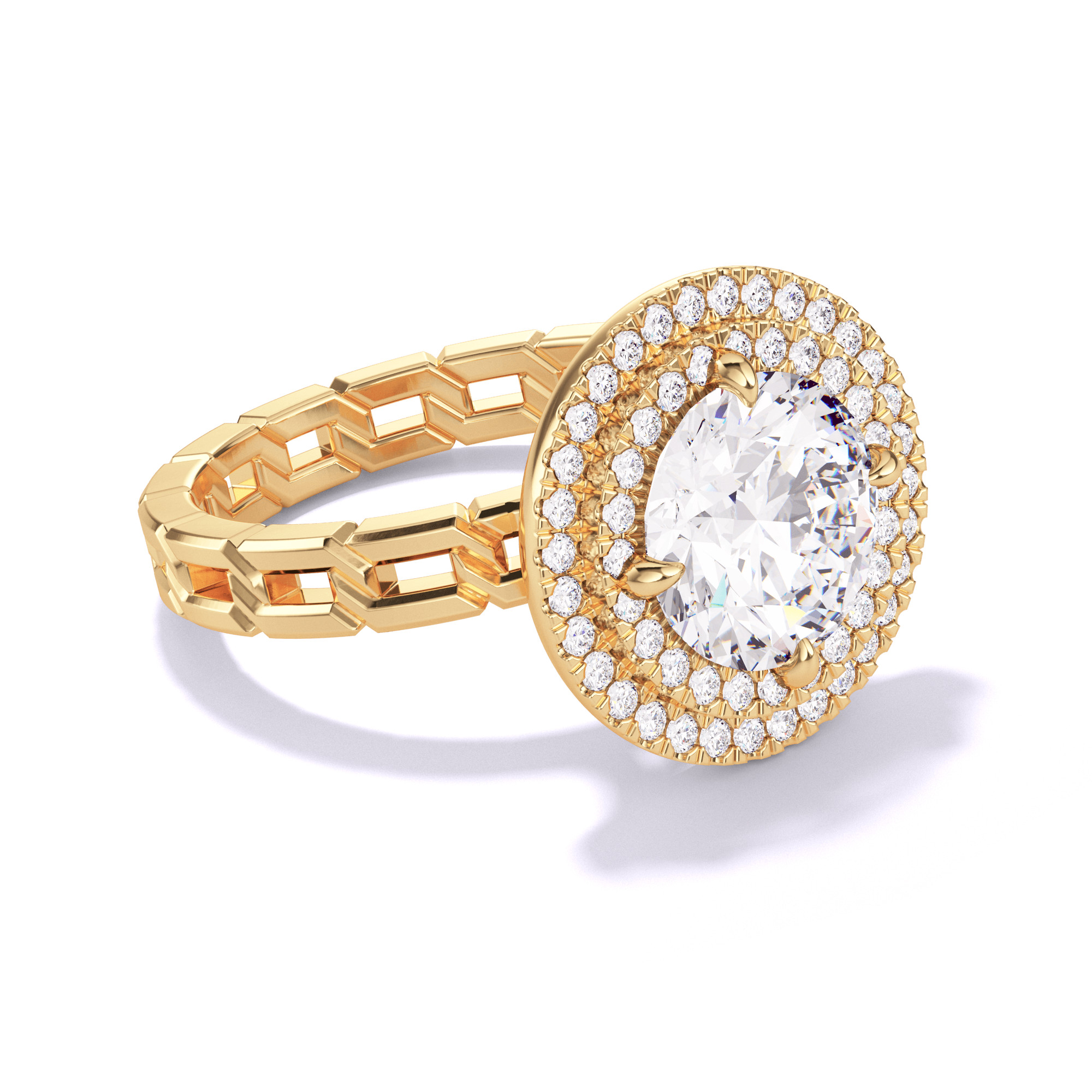 ROUND CUT, DOUBLE HALO SETTING, 16 LINKS, 18K YELLOW GOLD