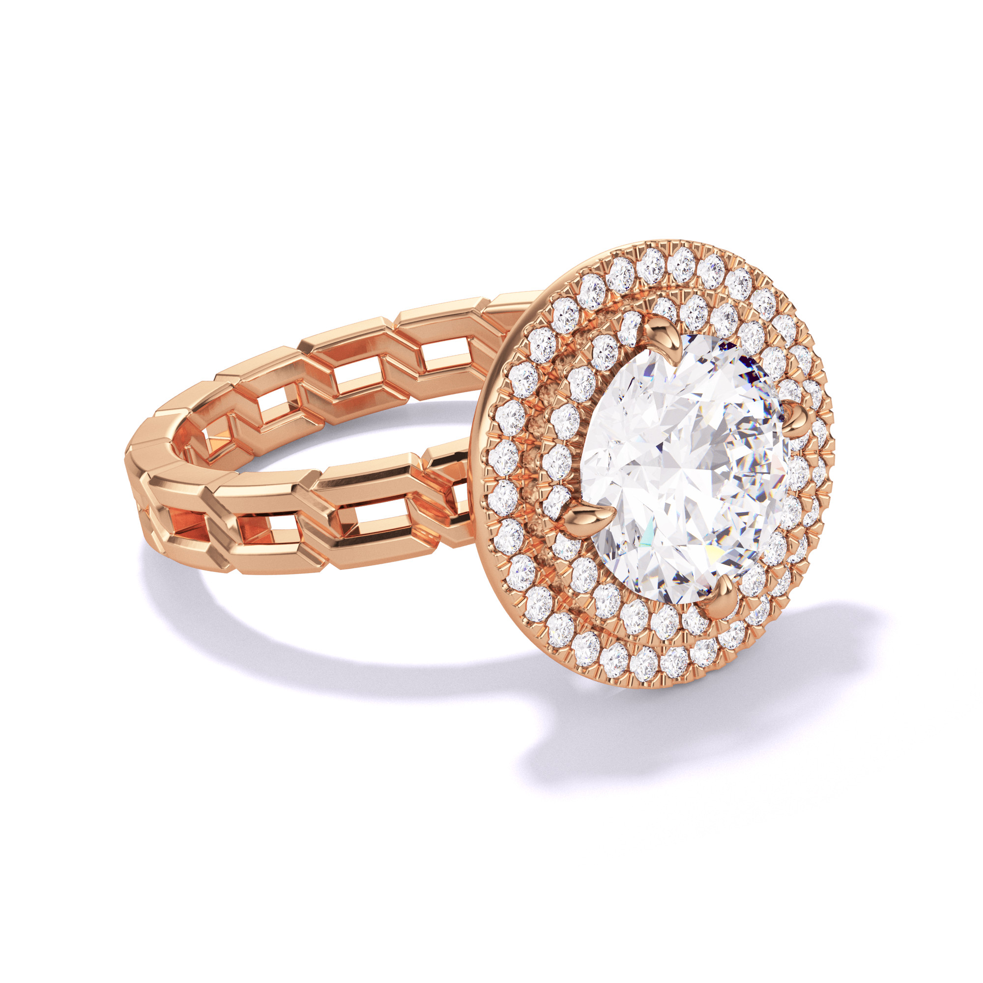 ROUND CUT, DOUBLE HALO SETTING, 16 LINKS, 18K ROSE GOLD