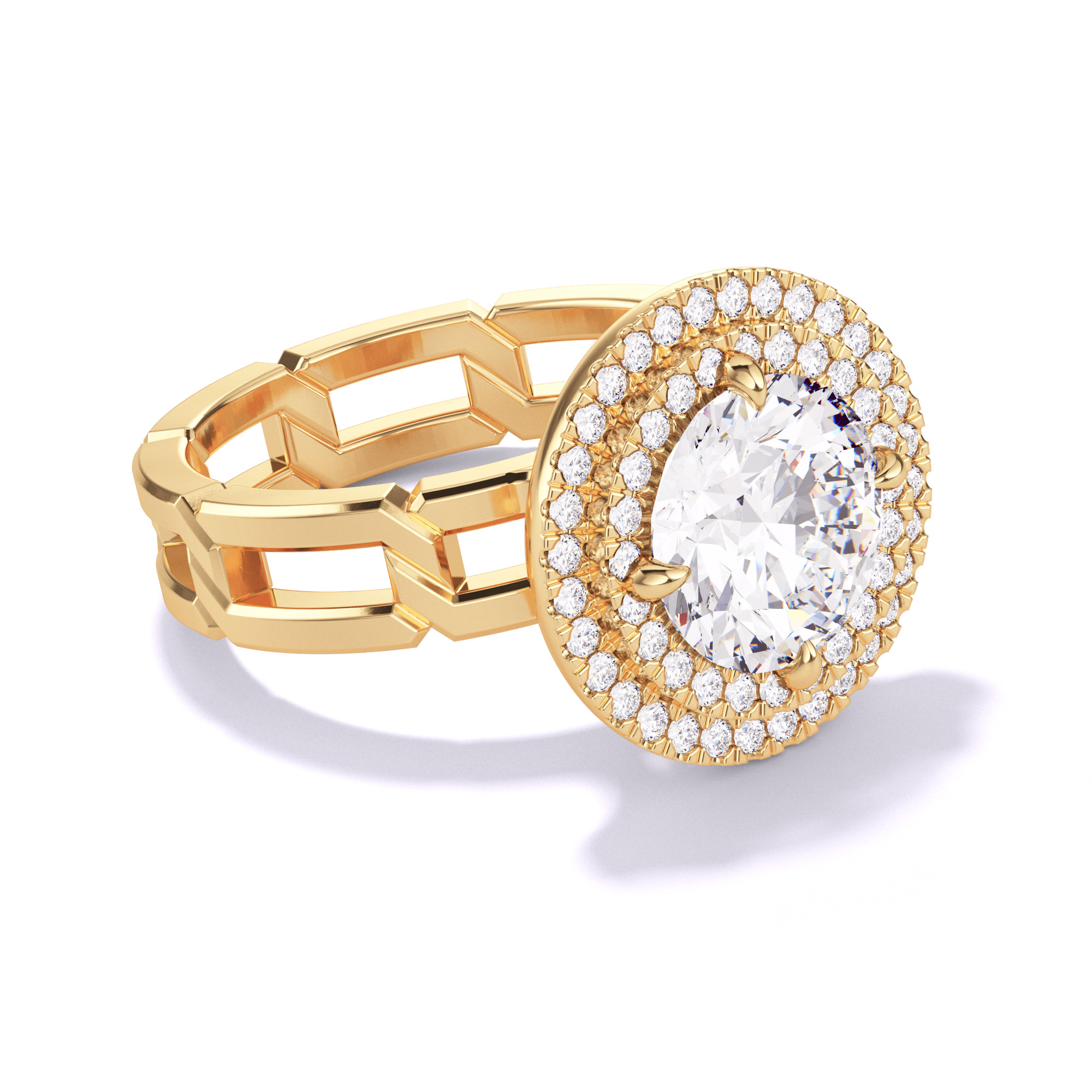 ROUND CUT, DOUBLE HALO SETTING, 8 LINKS, 18K YELLOW GOLD