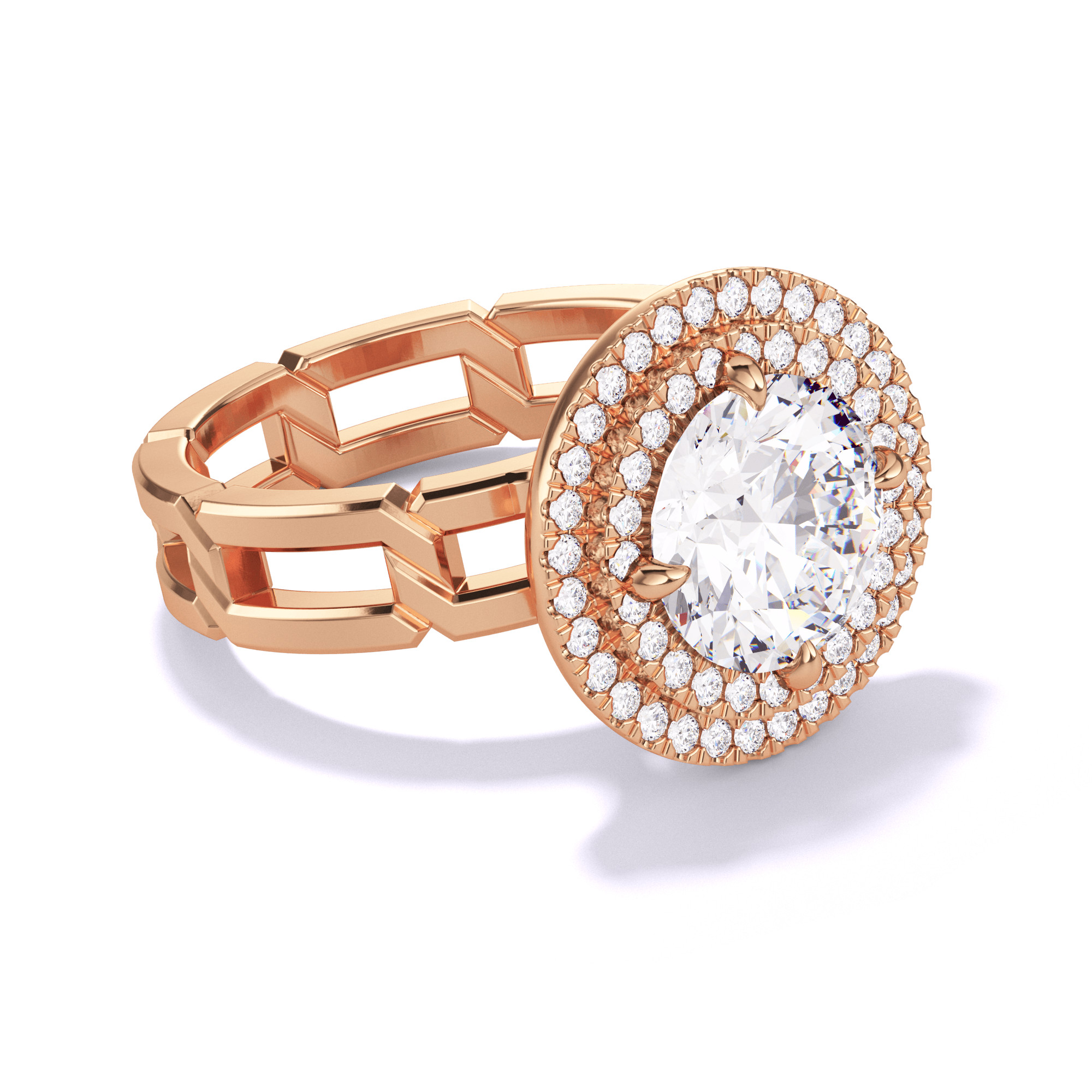ROUND CUT, DOUBLE HALO SETTING, 8 LINKS, 18K ROSE GOLD